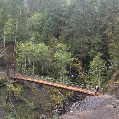 One of the first bridges we crosses. Very nice suspension bridge!